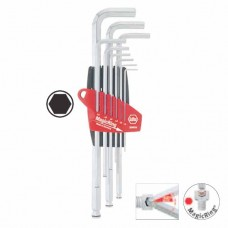 Wiha Ball End Hex L-Key Set in ProStar - With MagicRing® - Chrome-Plated - Blister Packed - 9 pcs - 20712